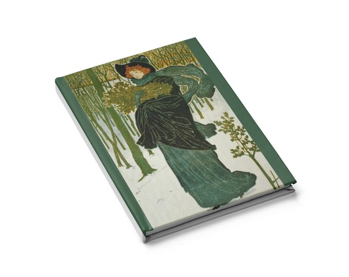 The Green Lady - Blank Page Journal With An Image From An Antique Vintage Illustration, Circa 1895.