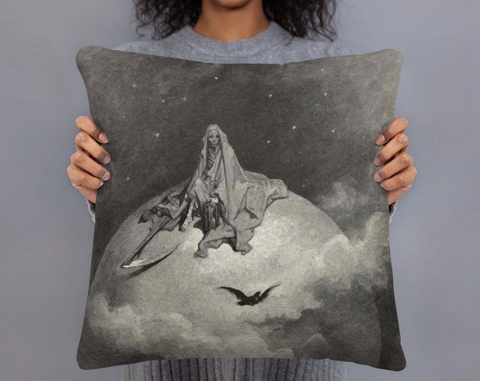 "Death Sits Atop The World, 18"" Square Pillow, Vintage, Antique Illustration, Gustave Dore, 1886"