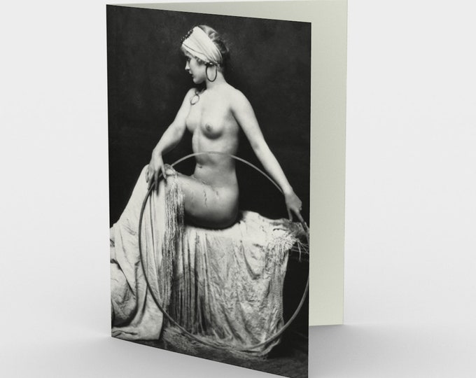 Nude With Hoop - Stationery Cards (3), With An Image From An Antique Vintage Photo, Circa 1920.