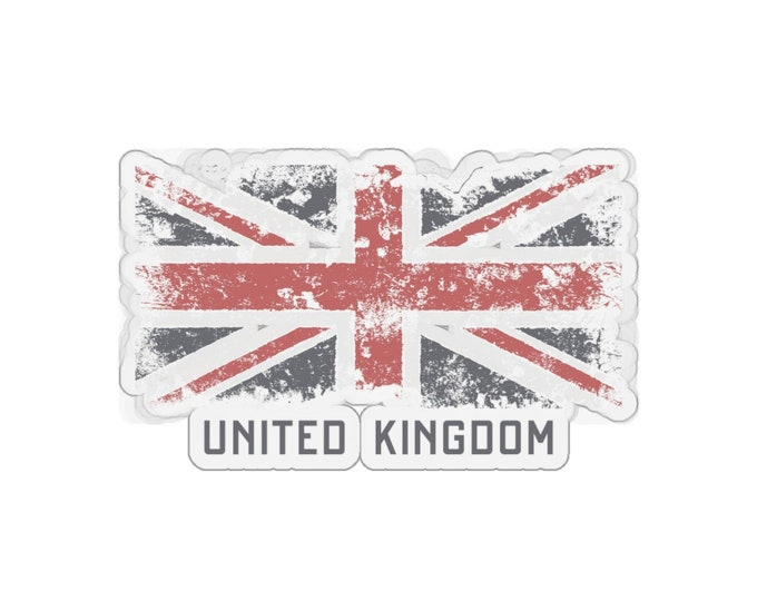 Cool UK - Kiss-Cut Stickers (Qty: 5) With Worn, Vintage Inspired Image Of The United Kingdom's Flag.