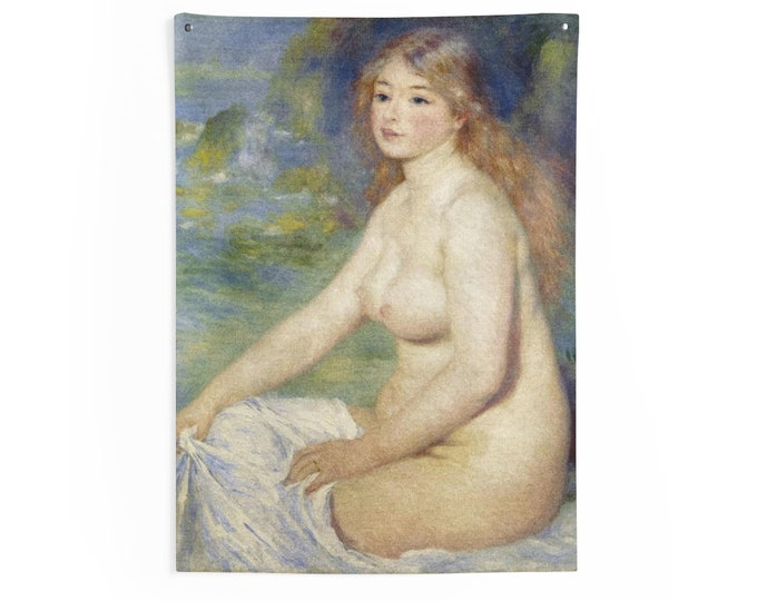 Blonde Bather, Indoor Wall Tapestries, Vintage, Antique Painting, Pierre-Auguste Renoir, 1881