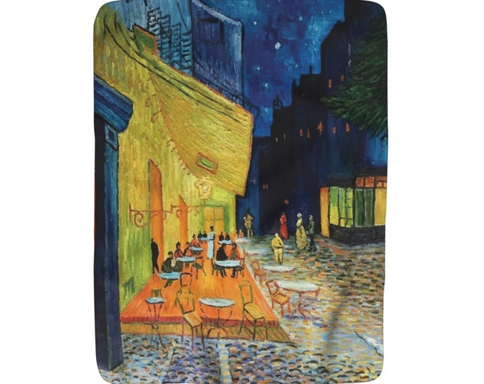 "Cafe Terrace At Night, Sherpa Fleece Blanket, Vintage, Antique Painting, Vincent Van Gogh, 1888, 50""x60"""