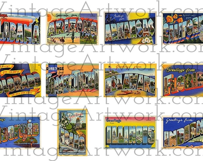 """48 U.S. State Postcards - Digital Images Of Antique Vintage, Large Letter, """"Greetings From"""" Postcards, By Curt Teich Co. Circa 1930-1949."""