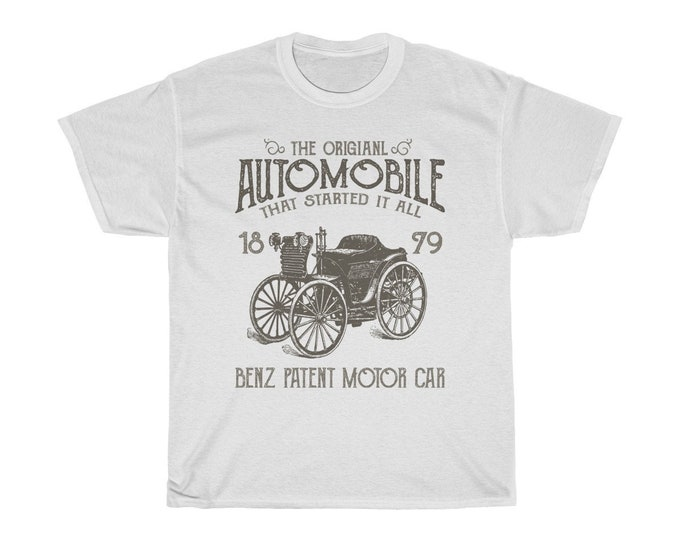 The Original Automobile - Unisex Heavy Cotton Tee With Vintage Inspired Image Of A 1879 Benz.