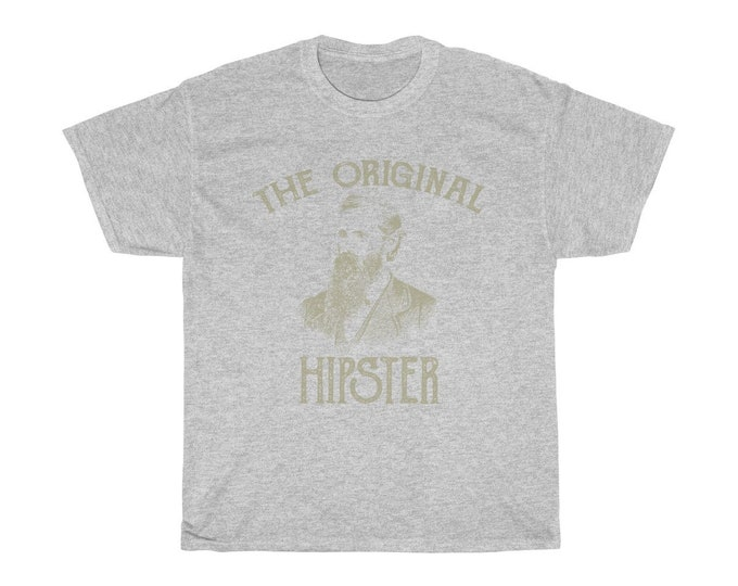 The Original Hipster - Unisex Heavy Cotton Tee With Vintage Inspired Illustration Of A Bearded Man.