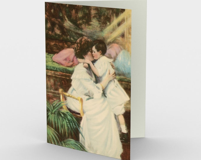 """Mother's Day Stationary Cards With Vintage Illustration From An Antique Postcard. """"A Mother's Love"""". Circa 1910."""