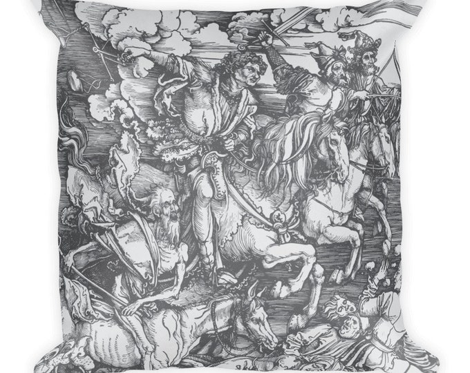 "Four Horsemen Of The Apocalypse, 18"" Square Pillow, Vintage, Antique Woodcut, Albrecht Durer, 1498"