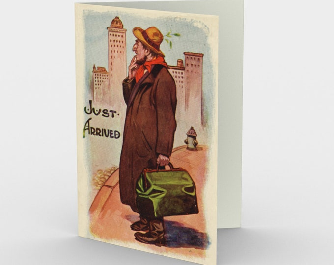 """Thinking Of You Stationary Card, With Vintage Illustration From An Antique Postcard. """"Just Arrived"""". Circa 1905."""