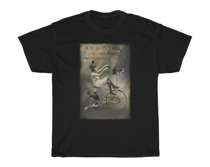 Riding High - Unisex Heavy Cotton Tee With An Image From An Antique Vintage Surreal Absinthe Advertisement, Circa 1920.
