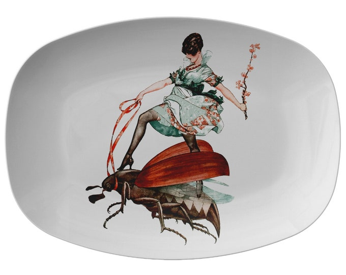 """Flying High, 10"""" x 14"""" Serving Platter, Vintage Jazz Age Illustration, Woman Riding Flying Insect"""
