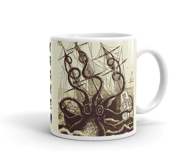 Kraken Attacks Ship, Coffee Mug, Vintage, Antique Illustration, Pierre Denys de Montfort, 1801