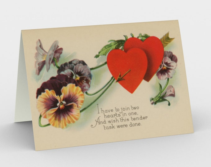 """Valentine's Card, With Vintage Illustration From An Antique Postcard. """"Two Hearts As One"""". Circa 1910."""