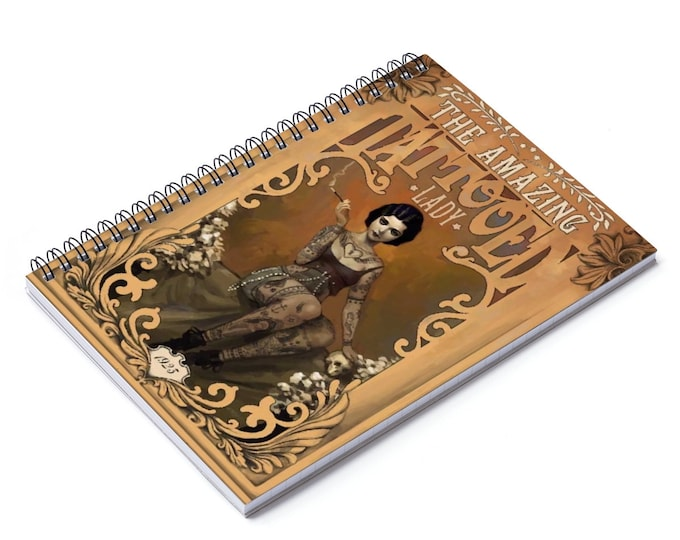 The Amazing Tattooed Lady - Ruled Line Spiral Notebook With A An Image From An Antique Vintage Circus Advertisement, Circa 1923.