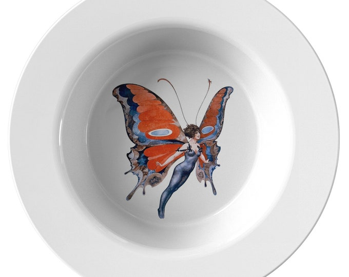 "Butterfly Woman, 8.5"" Soup Bowl, Vintage Jazz Age Illustration"