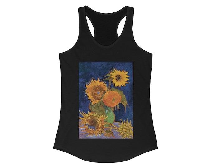 Six Sunflowers, Women's Ideal Racerback Tank, Vintage, Antique Painting, Vincent Van Gogh, 1888