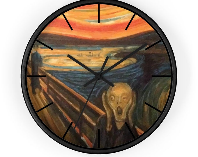 "The Scream, 10"" Wall Clock, Vintage, Antique Painting, Edvard Munch 1893"