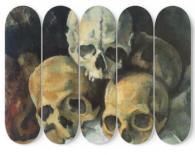 Pyramid Of Skulls, Skateboard Wall Art, 5 Maple Decks/Boards, Vintage, Antique Painting, Paul Cezanne, 1900