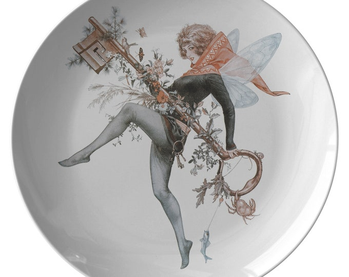 "Faerie Key, 10"" Dinner Plate, Vintage Jazz Age Illustration"