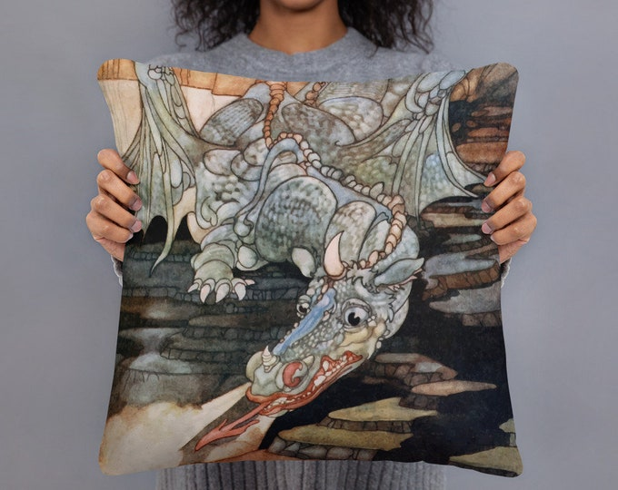 "Here Be Dragons, 18"" Square Pillow, Vintage Art Nouveau Illustration"