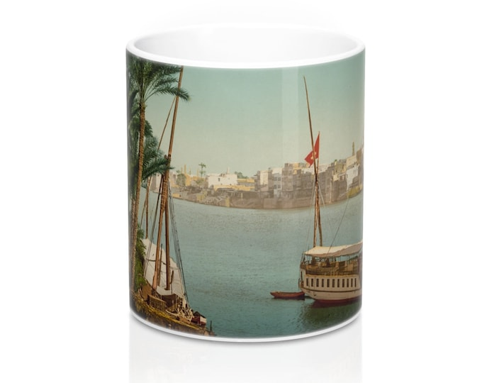 Cairo Egypt Taken From The Shore Near Bulaq, Coffee Mug, Antique/Vintage Postcard, Circa 1890 To 1906.
