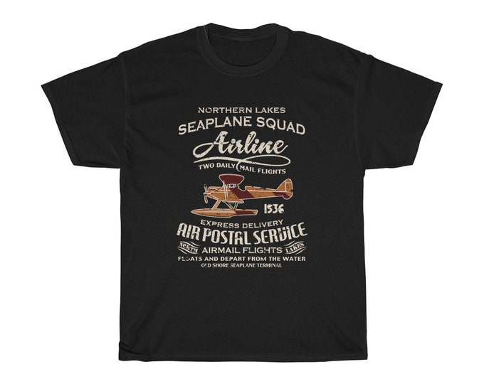 Seaplane Squad Airline Air Postal Service - Unisex Heavy Cotton Tee With Vintage Inspired Image Of A Seaplane.
