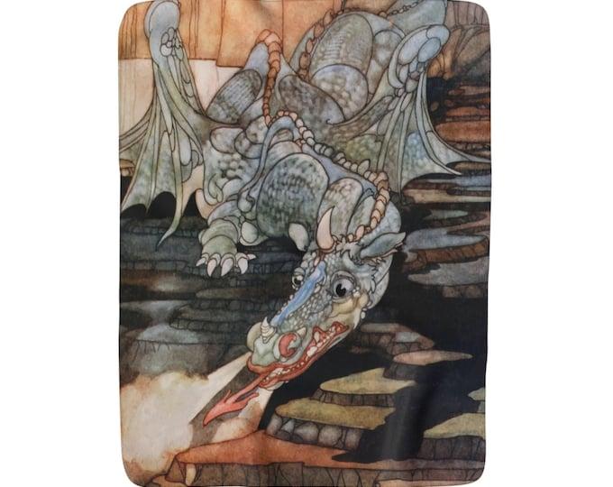 Here Be Dragons, Sherpa Fleece Blanket, Vintage Art Nouveau Illustration