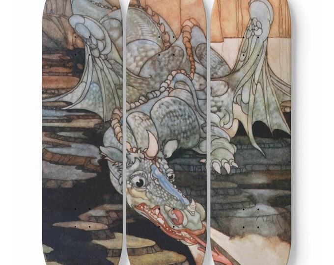 Here Be Dragons v2, Skateboard Art, 3 Maple Decks, Vintage Art Nouveau Illustration