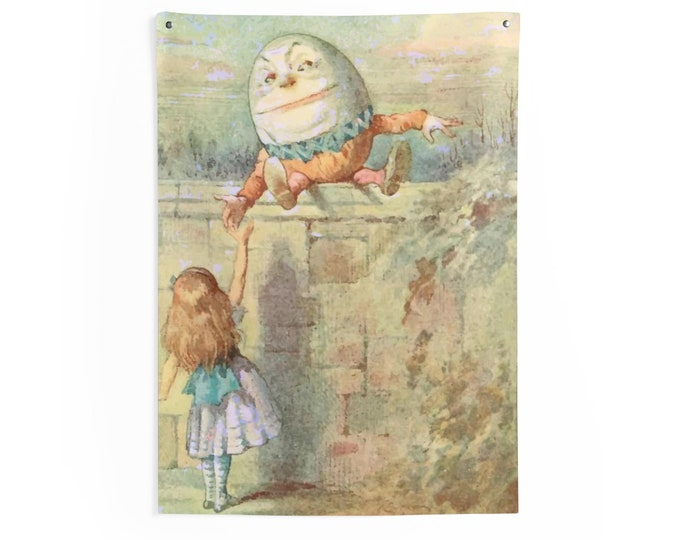 Alice Meets Humpty Dumpty, Indoor Wall Tapestry Vintage Illustration, 1911 Edition Alice's Adventures In Wonderland