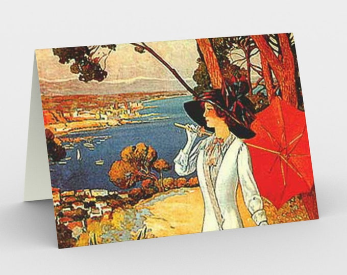 Côte d'Azur - Stationery Cards (3), With An Image From An Antique Vintage Illustration, Circa 1920.