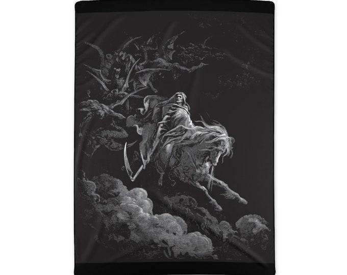 "Death Riding The Pale  Horse, Large Polyester Blanket, Vintage, Antique Illustration, Gustave Dore, 1865, 58""x80"""