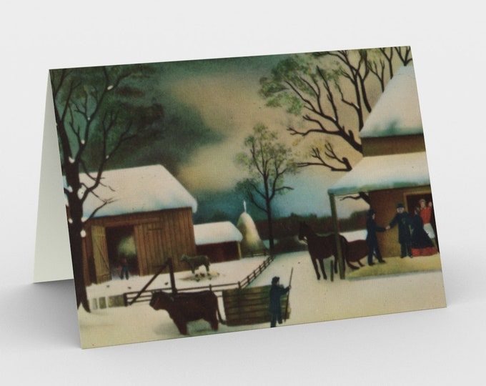 """Greeting Cards With Vintage Hand Colored Lithograph From Currier And Ives: """"Home To Thanksgiving"""". Circa 1867."""