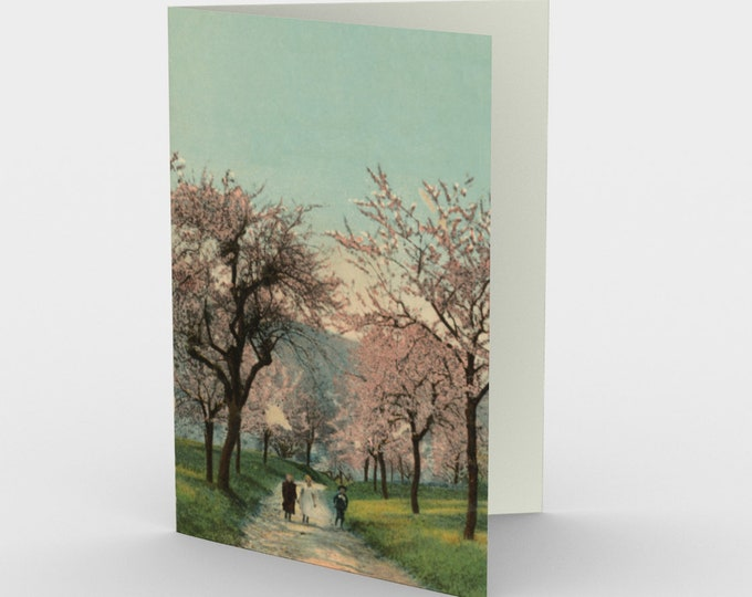 """Thinking Of You Stationary Card, With Vintage Illustration From An Antique Postcard. """"A Fall Stroll"""". Circa 1910."""