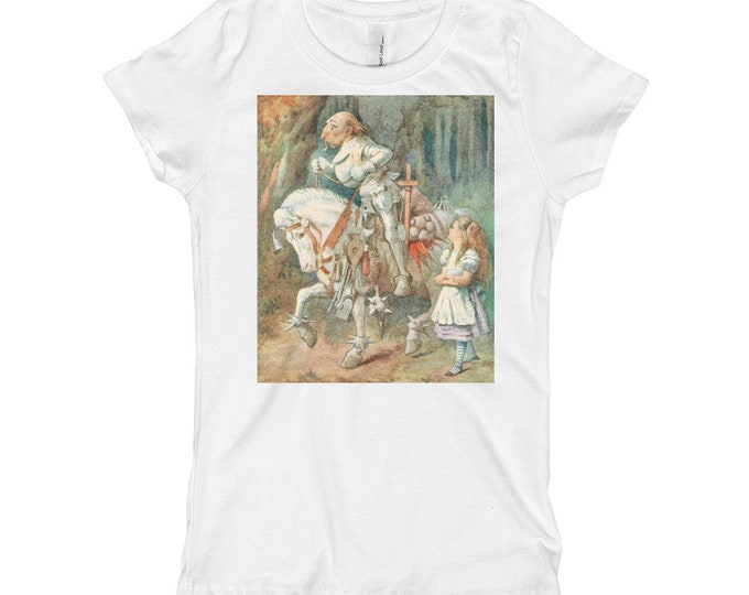 Alice Meets The White Knight, Girl's Princess Tee, Vintage Illustration, 1911 Edition Alice's Adventures In Wonderland