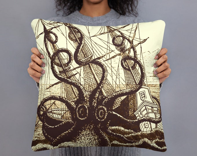 "Kraken Attacks Ship, 18"" Square Pillow, Vintage, Antique Illustration, Pierre Denys de Montfort, 1801"