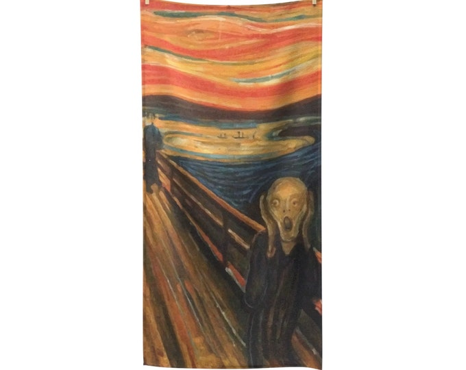 The Scream, Poly-cotton Bath Towel, Vintage, Antique Painting, Edvard Munch, 1893