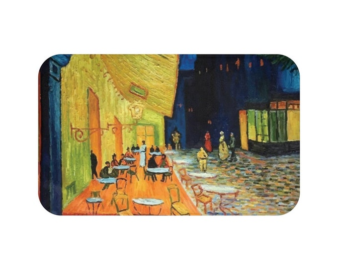 Cafe Terrace At Night, Microfiber Bath Mat, Vintage, Antique Painting, Vincent Van Gogh, 1888