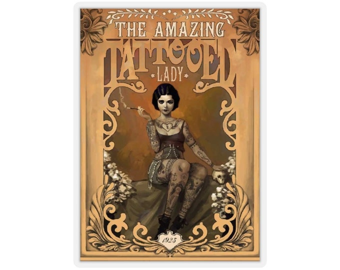 The Amazing Tattooed Lady - Kiss-cut Stickers (Qty: 5) With An Image From An Antique Vintage Circus Advertisement, Circa 1923.