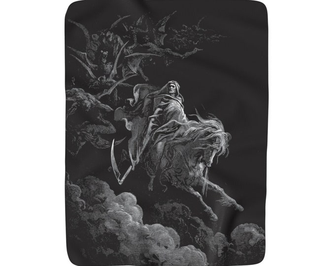 "Death On The Pale Horse, Sherpa Fleece Blanket, Vintage, Antique Illustration, Gustave Dore, 1865, 50""x60"""