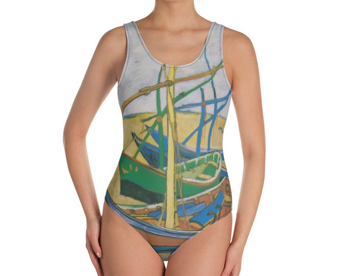 Fishing Boats, All-Over Print One-Piece Swimsuit, Vintage Painting, Van Gogh 1888