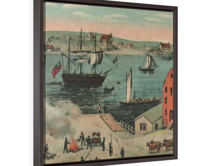 """Framed Wrapped Canvas With A Vintage Image Of An Antique Postcard """"Public Burning Of The Newspapers, 1733"""" Circa 1910."""