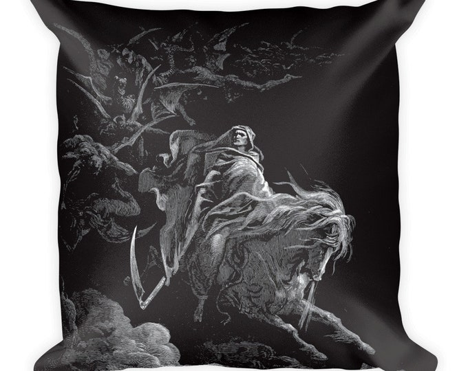Death On The Pale Horse, All-Over Print Basic Pillow Case With Stuffing, Vintage, Antique Illustration, Gustave Dore, 1865