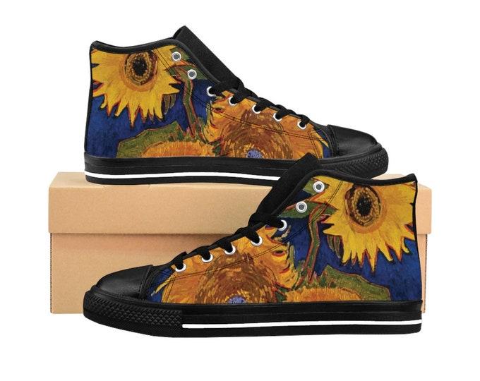 Six Sunflowers, Women's High-top Sneakers, Vintage Painting, Van Gogh 1888