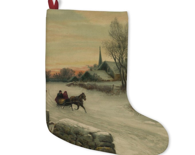Christmas Stocking With Vintage Lithograph Of Horse Drawn Sleigh In Winter From An Antique Postcard Circa 1890 To 1900