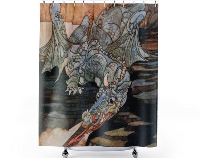 Here Be Dragons, Shower Curtain, Vintage Art Nouveau Illustration