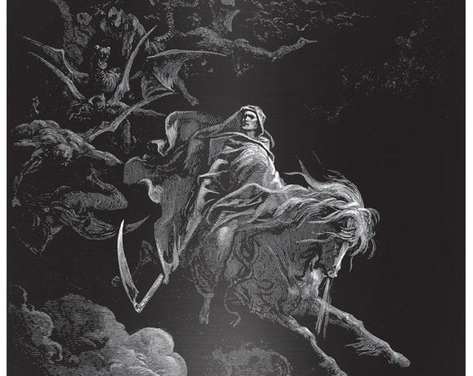 Death Riding The Pale Horse, Matte Metal Print, Vintage, Antique Illustration, Gustave Dore, 1865
