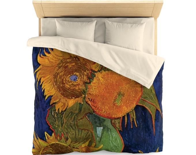Six Sunflowers, Microfiber Duvet Cover, Vintage, Antique Painting, Vincent Van Gogh, 1888