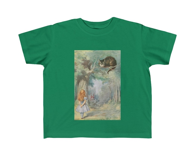 Alice Meets The Cheshire Cat, Kid's Fine Jersey Tee, Vintage Illustration, 1911 Edition Alice's Adventures In Wonderland