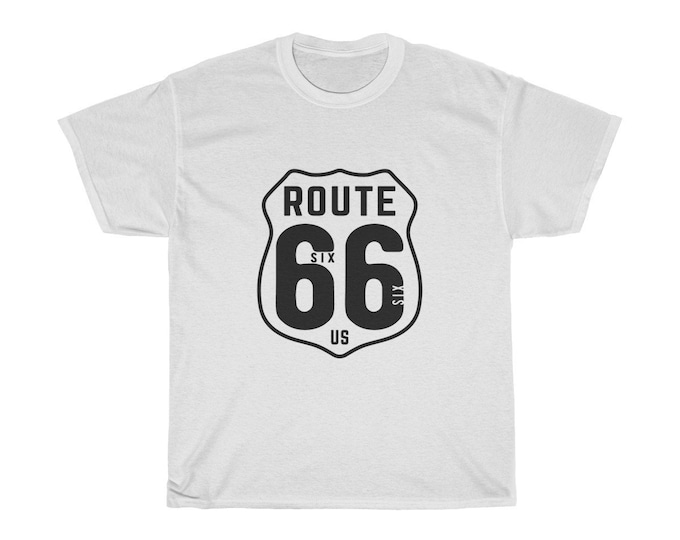 Route 66 - Unisex Heavy Cotton Tee With Vintage Inspired Image Of An Old Highway Sign.