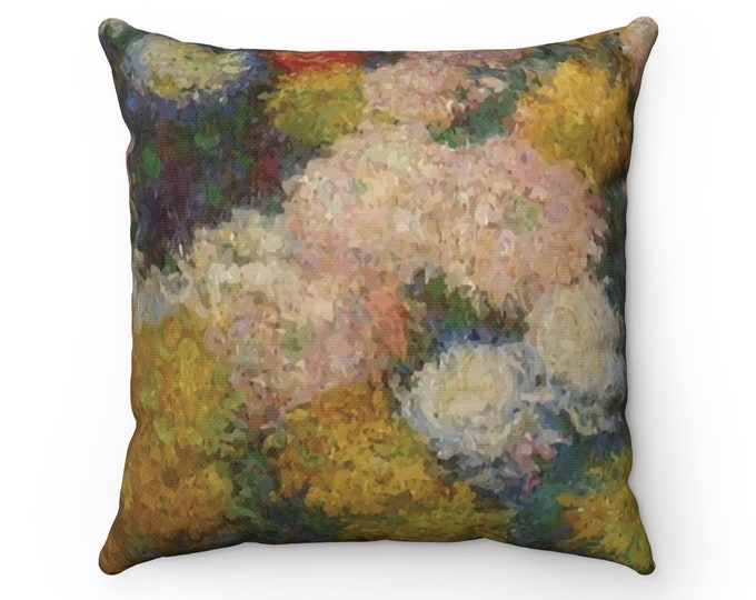 Chrysanthemums, Spun Polyester Square Pillow, Vintage, Antique Painting, Claude Monet, Circa 1880