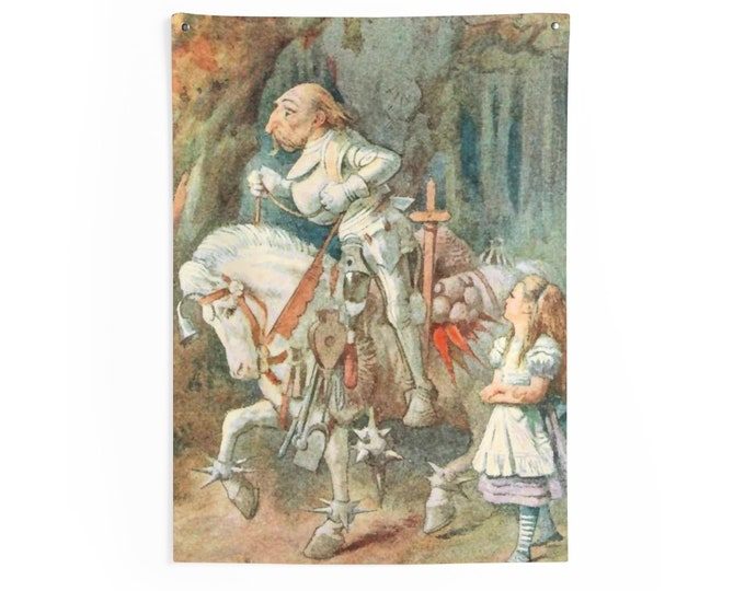 Alice Meets The White Knight, Indoor Wall Tapestry Vintage Illustration, 1911 Edition Alice's Adventures In Wonderland